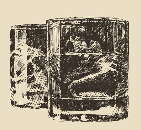 scotch: Two glass of whiskey vintage illustration engraved retro style hand drawn sketch