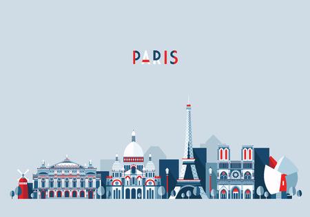 Paris France city skyline vector background. Flat trendy illustration