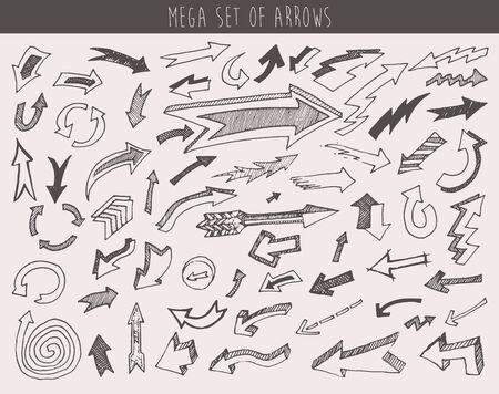 sketched arrows: Set of vector arrows hand drawn arrows set one hundred pieces sketched style design elements vector illustration