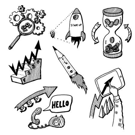 idea sketch: Business Idea concept high detailed doodles icons set sketch Vector illustration hand drawn background
