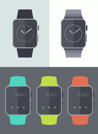 wristband: Smart watch icons isolated on background Trendy flat vector illustration