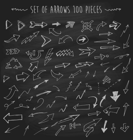 curved: Set of vector arrows on chalkboard blackboard hand drawn arrows set one hundred pieces sketched style design elements vector illustration