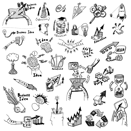 Business Idea concept high detailed doodles icons set sketch Vector illustration hand drawn background