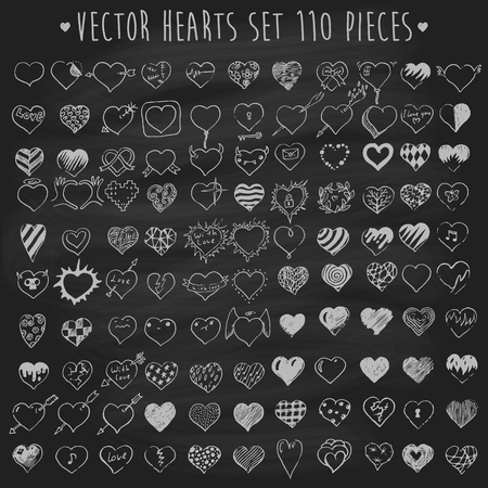 draw hands: Set of vector hearts one hundred ten pieces design elements on chalkboard blackboard background hand drawn vector illustration Illustration
