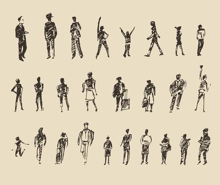 人々: 人々、男性と女性と子供のビジネス スケッチ ベクトル図、シルエット