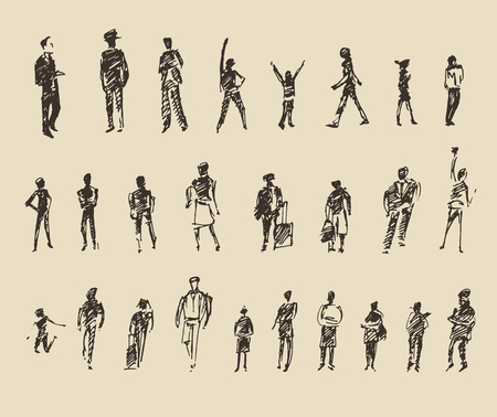 osoba: Lidé, muž a žena a děti business skica vektorové ilustrace, silueta