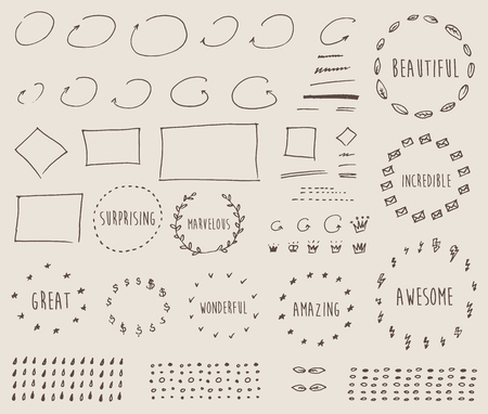 s day: Doodles border arrow crown decor elements set For design templates invitations For weddings Valentine s day holidays menu birthday Hand drawn vector illustration