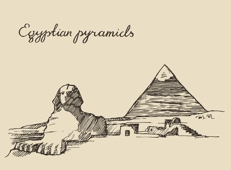 giza pyramids: Pyramids and Great Sphinx of Giza in Cairo Egypt vintage engraved illustration hand drawn sketch Illustration