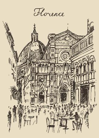 Straten in Florence Italië Trevi Fontein hand getrokken vector illustratie schets gegraveerd stijl