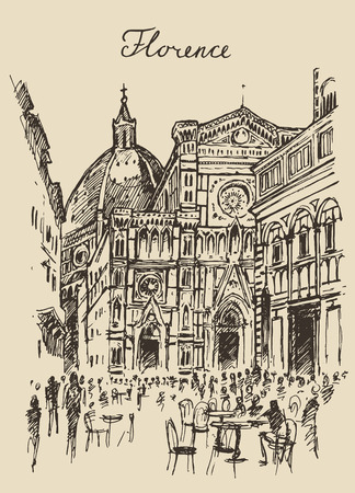 florence: Streets in Florence Italy Trevi Fountain hand drawn vector illustration sketch engraved style