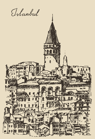 constantinople: Istanbul Turkey city architecture harbor vintage engraved illustration hand drawn sketch Illustration