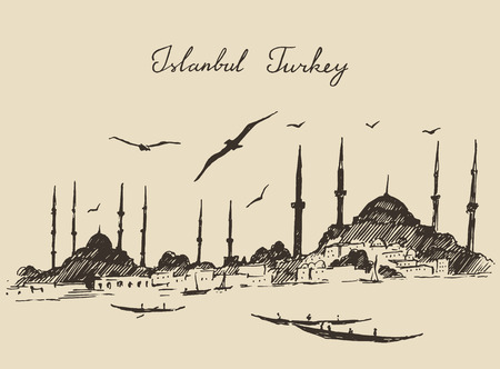 mosque illustration: Istanbul Turkey city architecture harbor vintage engraved illustration hand drawn sketch Illustration