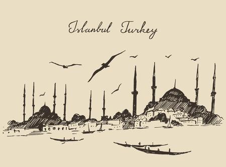 Istanbul Turkey city architecture harbor vintage engraved illustration hand drawn sketch Stock Illustratie