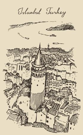 pavo: Ilustraci�n grabada boceto dibujado a mano Estambul Turqu�a arquitectura de la ciudad puerto de la vendimia Vectores