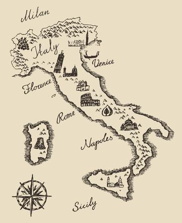 Olasz térképen régi iskola stílusú vintage retro design vésett vektoros illusztráció vázlat Illusztráció