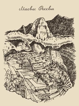 Machu picchu landscape Peru vintage engraved illustration hand drawn sketch