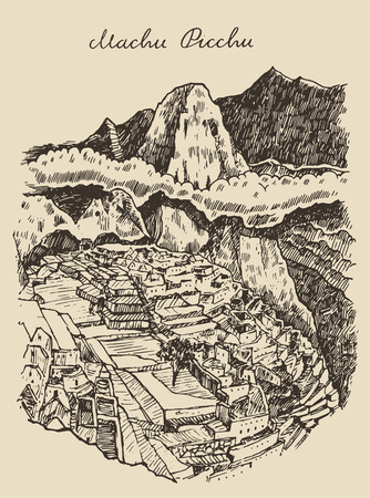 picchu: Machu picchu landscape Peru vintage engraved illustration hand drawn sketch
