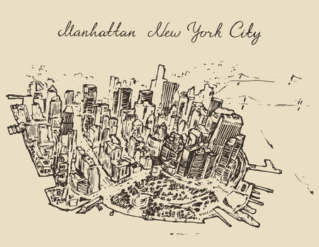 Top view of Manhattan new York, United States hand drawn vector illustration sketch engraved style Vettoriali