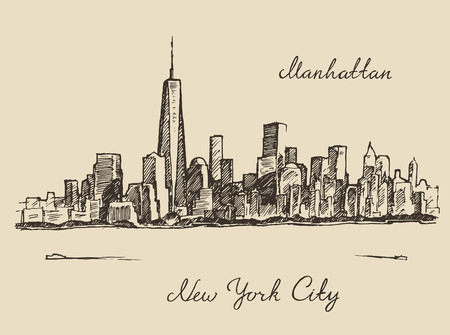 manhattan skyline: New York city architecture, vintage engraved illustration, hand drawn sketch vector