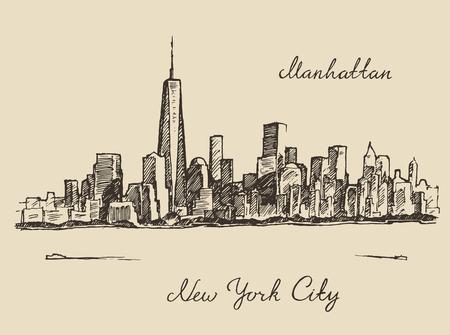 boceto: Nueva York arquitectura de la ciudad, ilustraci�n de la vendimia grabado, dibujado a mano vector boceto