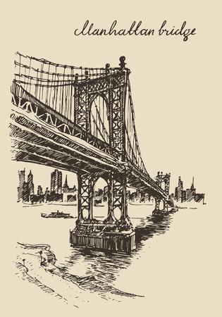 sky scraper: Manhattan bridge New York United States vintage engraved illustration hand drawn sketch