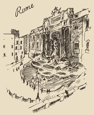 roman column: Rome Italy vintage engraved illustration hand drawn sketch