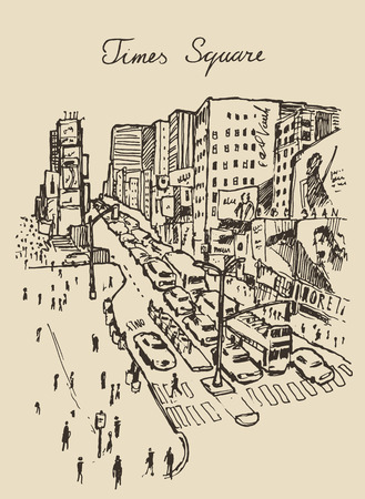advertise with us: street in New York city engraving vector illustration hand drawn Illustration
