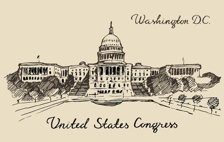 워싱턴 DC의 손에 미국 자본 힐 국회 의사당 돔 벡터 일러스트 레이 션 스케치 새겨진 스타일을 그려
