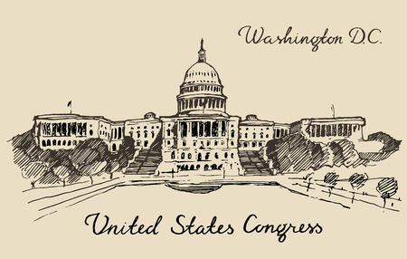 hill: United States Capital Hill Capitol dome in Washington DC hand drawn vector illustration sketch engraved style Illustration