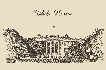 the white house: White House in Washington DC engraved vector illustration hand drawn sketch Illustration