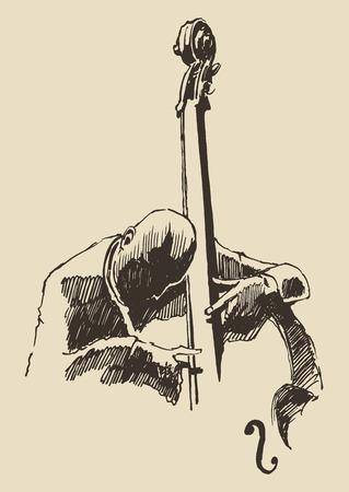 ジャズ男コントラバス手描き、再生スケッチ ベクトル