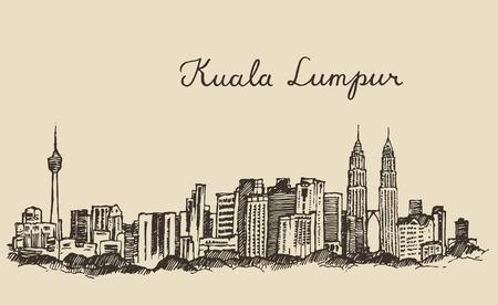 mimari ve binalar: Kuala Lumpur skyline büyük şehir mimarisi bağbozumu oyulmuş illüstrasyon elle çizilmiş kroki