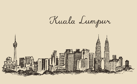 malaysia: Kuala Lumpur skyline big city architecture vintage engraved illustration hand drawn sketch Illustration