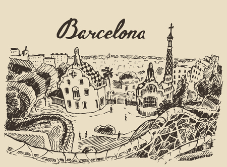 barcelona spain: Barcelona landscape Spain vintage engraved illustration hand drawn sketch