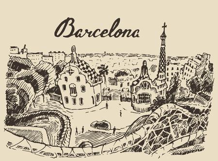 Barcelona landscape Spain vintage engraved illustration hand drawn sketch