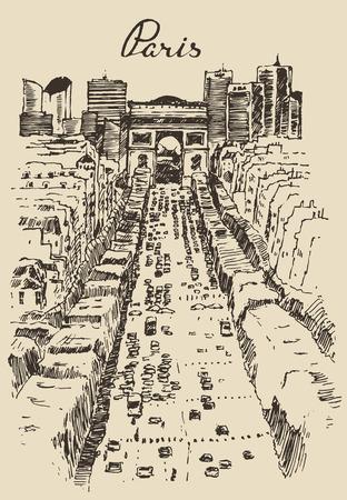 triumphal: The Avenue des Champs-Elysees Paris hand drawn vector illustration sketch