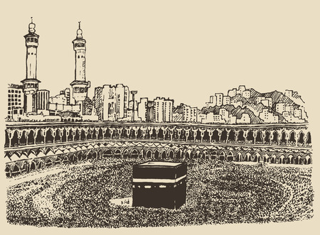 Holy Kaaba in Mecca Saudi Arabia with muslim people vintage engraved illustration hand drawn sketch