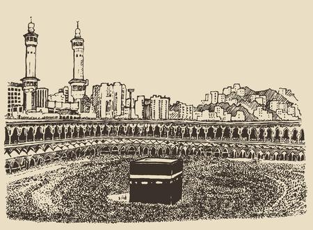 boceto: Kaaba santa de La Meca en Arabia Saudita con las personas musulmanas croquis dibujado a mano ilustraci�n grabada vendimia