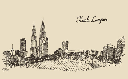 Kuala Lumpur skyline big city architecture vintage engraved illustration hand drawn sketch Çizim