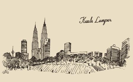 Kuala Lumpur skyline big city architecture vintage engraved illustration hand drawn sketch Vettoriali