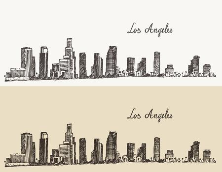 boceto: Ilustraci�n grabada boceto dibujado a mano Horizonte de Los �ngeles California vendimia