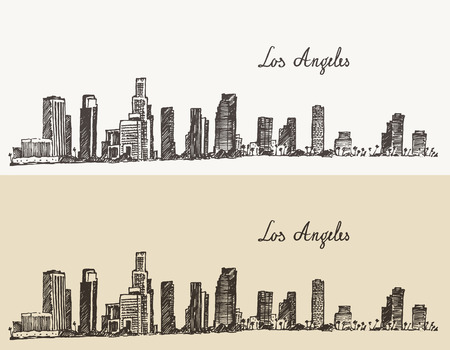 california: Los Angeles skyline California vintage engraved illustration hand drawn sketch