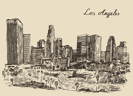 ロサンゼルスのスカイライン カリフォルニア ビンテージ刻まれたイラストは手描きのスケッチ