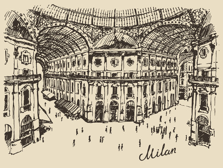 milano: Gallerie Viktora shopping center in Milan Italy hand drawn vector illustration sketch engraved style