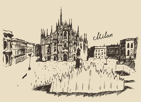 ミラノのミラノ大聖堂ドゥオーモ イタリア手描きベクトル イラスト スケッチ刻まれたスタイル