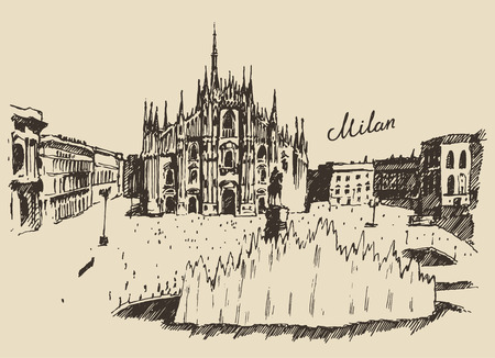 Milan Cathedral Duomo di Milano Italy hand drawn vector illustration sketch engraved style Ilustração