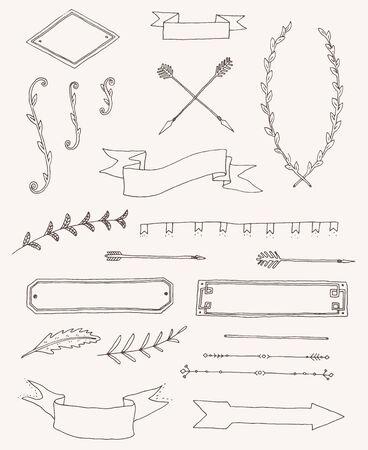 vintage design: Vector set of vintage design elements and page decoration for restaurant menu design