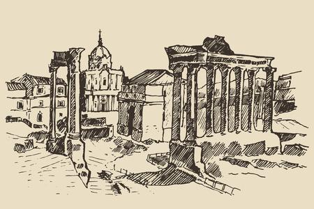 ローマ フォーラムは、ローマ イタリア ヴィンテージ刻まれたイラスト手描きのスケッチでローマのランドマークの中の遺跡