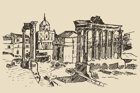 roma antigua: Boceto Ruinas del Foro Romano en Roma Landmark en Roma Italia dibuja cosecha ilustración grabada mano Vectores