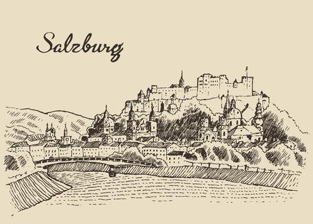 ザルツブルク スカイライン オーストリア ヴィンテージ刻まれたイラストは手描きのスケッチ
